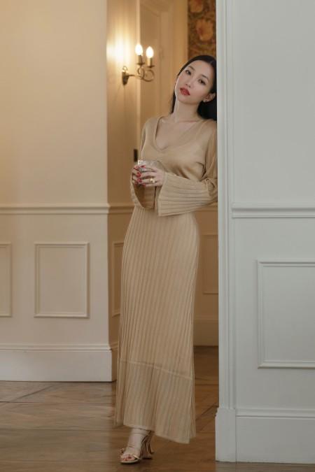Aurea Knit Dress Gold
